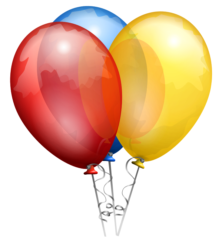 A group of three balloons on a ribbon